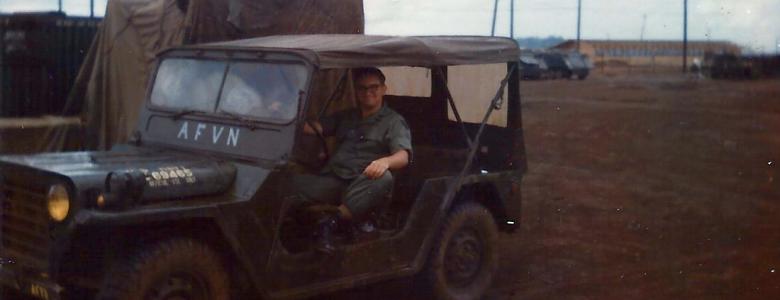 Dan Ethen in the AFVN Mobile Unit (Photo)